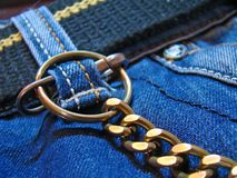 Jeans and chain stock photo