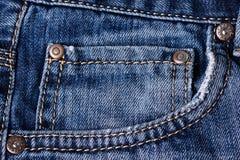 Jeans close-up. Clasps, pocket, seams. Interlacing the fabric wi Royalty Free Stock Photos