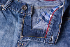 Jeans close-up. Clasps, seams, zippers. Interlacing the fabric w Royalty Free Stock Photo