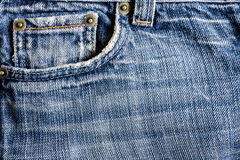 Jeans close-up, old, pocket back, front, crumpled, ragged. Stock Photography