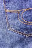 Jeans close-up, old, pocket back, front, crumpled, ragged. Royalty Free Stock Images