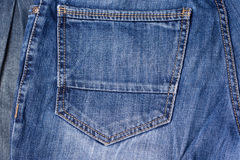Jeans close-up. Pocket, seams. Interlacing the fabric with a clo Stock Images
