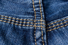 Jeans close-up. Seams. Interlacing the fabric with a close-up Stock Photos
