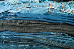 Jeans In A Closet Royalty Free Stock Photo