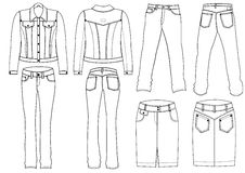 Jeans clothes. FAshion jeans clothes for men and momen Royalty Free Stock Photos