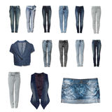 Jeans clothes collection from white background Stock Image
