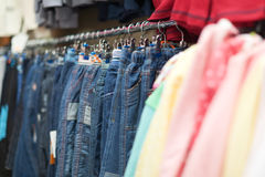 Jeans at clothes shop Royalty Free Stock Photography