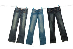 Jeans on clothesline stock photo