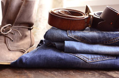 Jeans. And Clothing Accessories Close Up stock photos