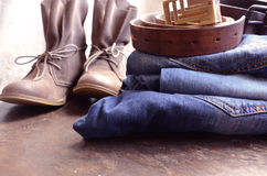 Jeans. And Clothing Accessories Close Up stock image