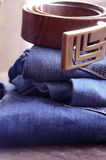 Jeans. And Clothing Accessories Close Up royalty free stock photography