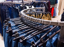 Jeans in clothing store stock images