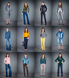 Jeans collection lady's clothes royalty free stock image