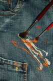 Jeans and colors. Blue jeans and colors for children Stock Image