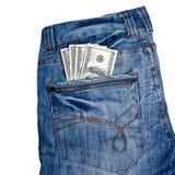 Jeans con i dollari americani sulla sua casella Fotografie Stock Libere da Diritti