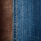 Jeans and corduroy textures Royalty Free Stock Photography