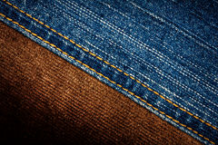 Jeans and corduroy textures Stock Images