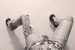 Jeans déchirés Image libre de droits