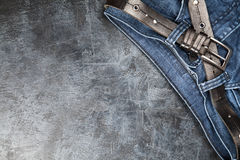 Jeans on dark background Royalty Free Stock Images