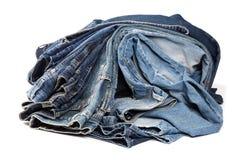 Jeans de Lue d'isolement sur le fond blanc photos stock
