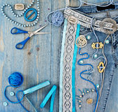 Jeans decorated with ribbons Royalty Free Stock Images