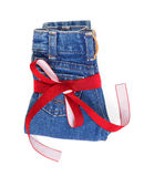 Jeans with decorative ribbon. Royalty Free Stock Photography