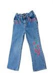 Jeans dei bambini isolati sopra bianco Immagini Stock Libere da Diritti