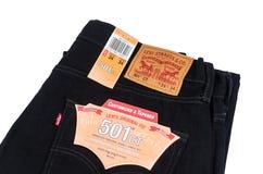 Jeans del nero di Levi's Fotografie Stock Libere da Diritti