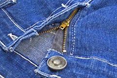 Jeans denim fabric. Image of denim jeans zipper half open Stock Photos