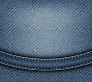 Jeans design with arch. Stripe and blue stitches on blue jeans background vector illustration