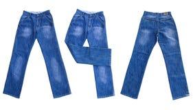 Jeans die op wit worden geïsoleerdw Royalty-vrije Stock Afbeeldingen