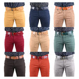 Jeans in different colors close-up. collage Royalty Free Stock Images