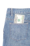 Jeans and dollars Stock Images