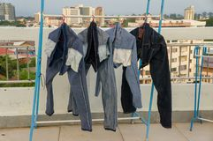 Jeans drying after washed