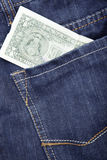Jeans e dollaro Fotografia Stock