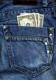 Jeans e soldi Fotografia Stock