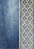 Jeans et dentelle Fond avec le denim et la dentelle faite main Fond de vintage avec le tissu de dentelle et de denim illustration de vecteur
