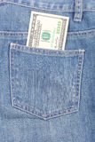 Jeans et dollars Images stock