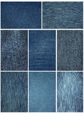 Jeans fabric close up. The image of dark blue jeans fabric close up Stock Images