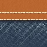 Jeans fabric and leather background Royalty Free Stock Photo