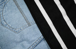 Jeans and fabric Royalty Free Stock Photo