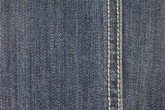 Jeans fabric texture background with stitch Royalty Free Stock Photo