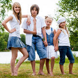 The jeans family Stock Images