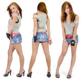 Jeans Fashion Girl Three Poses Royalty Free Stock Photo