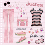 Jeans fashion set Royalty Free Stock Photo
