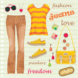 Jeans fashion set Royalty Free Stock Photos