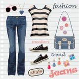 Jeans fashion seten Royaltyfri Bild
