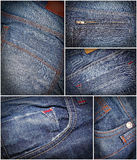 Jeans fassion collage Royalty Free Stock Photos