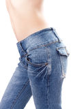 Jeans on Female buttocks. On a white background Stock Image