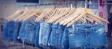 Jeans female cut off market stall Stock Image